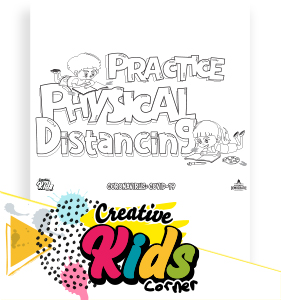 Practice Physical Distancing coloring page